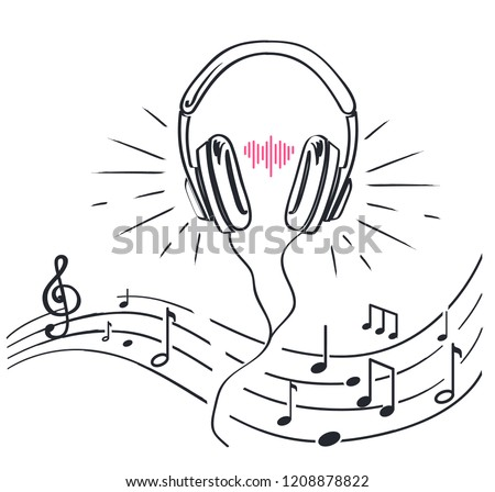 headphones and sheet music with