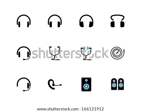 Headphones and speakers duotone icons. Vector illustration.