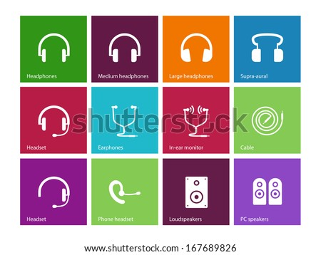 Headphones and speakers icons on color background. Vector illustration.