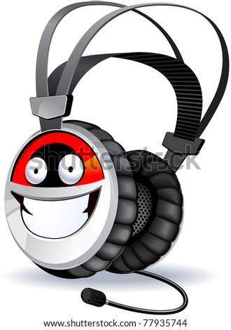 Headphones character. the series of the cute electronic characters