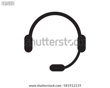 headphones, chat icon, vector illustration eps10