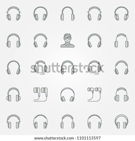 Headphones colored icons set - vector headphone and earphones creative signs or logo elements