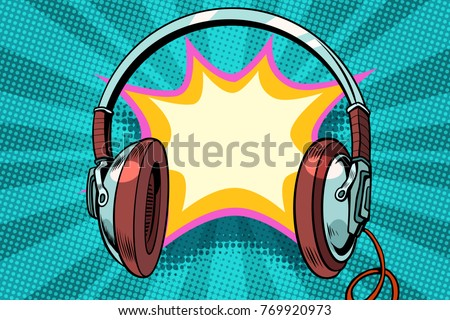 headphones comic bubble audio. Pop art retro vector illustration
