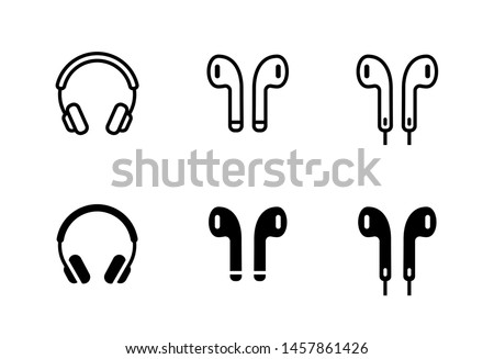 Headphones earphones flat icon. Headset silhouette