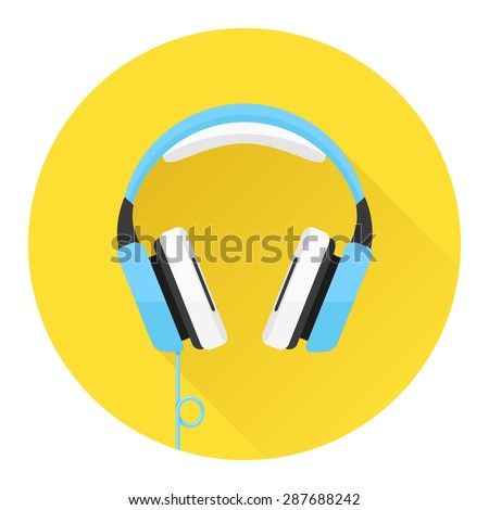 Headphones flat icon. Music and technology, sound and audio, vector illustration