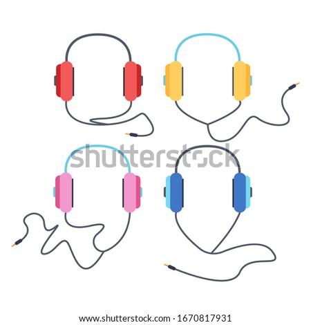 Headphones for listening to music, headphone vector set, over-ear headphones, multi-colored headphones. Vector isolated headphones on a white background.