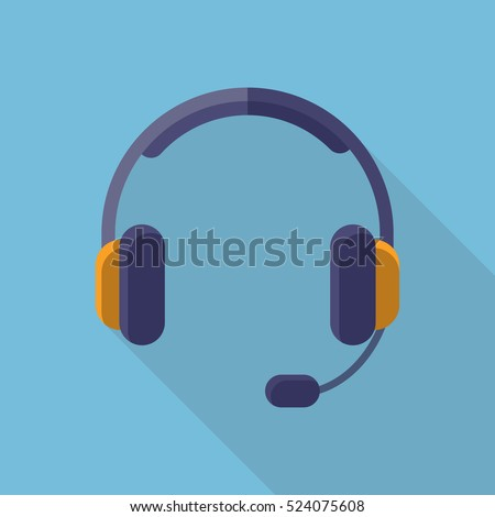 Headphones Headset Icon Flat Design Long Shadow
