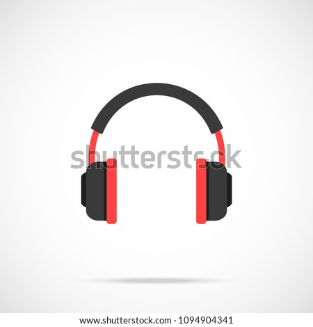 Headphones icon. Flat design. Vector icon isolated on gradient background