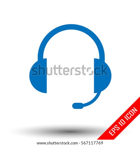 Headphones icon. Headphones logo. Flat icon of the headphones. Vector illustration