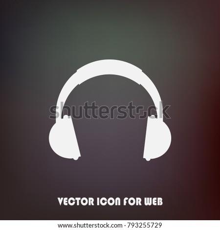Headphones icon. Headphones logo. Flat icon of the headphones. Vector illustration