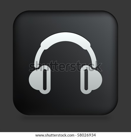 Headphones Icon on Square Black Internet Button Original Illustration