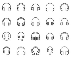 Headphones icon set. Collection of high quality outline web pictograms in modern flat style. Black Headphones symbol for web design and mobile app on white background. Line logo EPS10