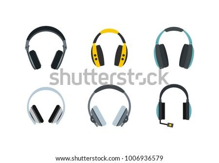 headphones icon set flat set