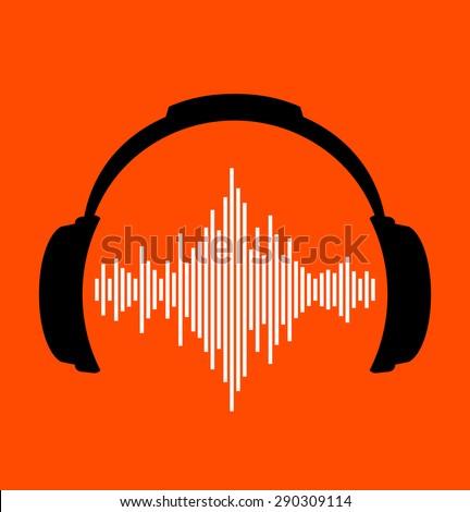 headphones icon with sound wave