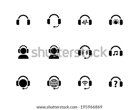 Headphones icons on white background. Vector illustration.