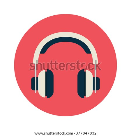 headphones in flat style white