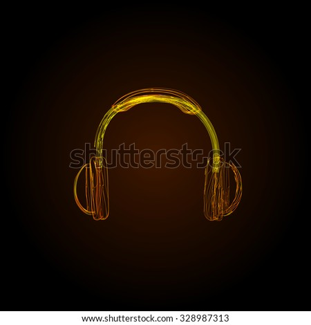 headphones light lines color