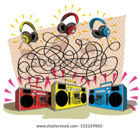 Headphones Maze Game task: Match each headphone (color) with tape recorder (color)! answer: 3 pairs; yellow to blue, red to yellow, blue to red.