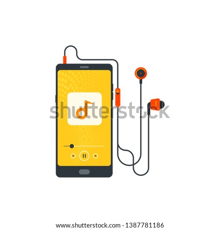 Headphones, Mobile with headset, listening to music, Cheerful songs playlist, Music player, Stereo sound, Earbuds, Earphone, cord wire, audio device, Prints for cloths and cover