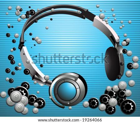 Headphones. Music background.