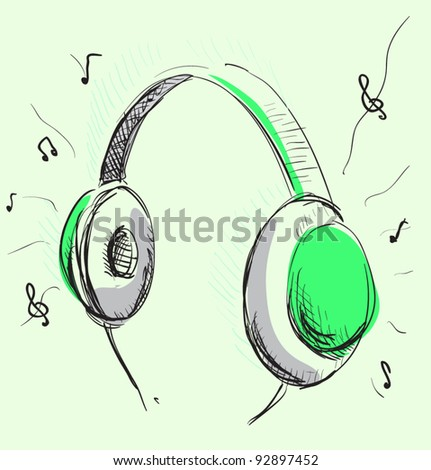 Headphones music cartoon illustration green gray