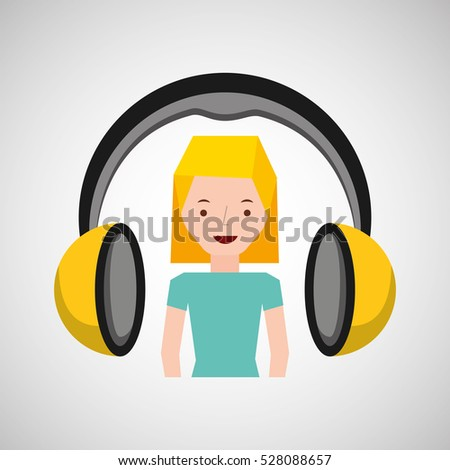 headphones music character girl