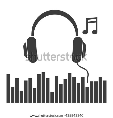 headphones music note icon