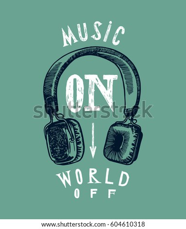 headphones music print music