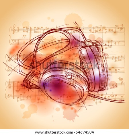 Headphones on a watercolor background & notes - Original design