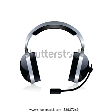 Headphones on a white background. Vector