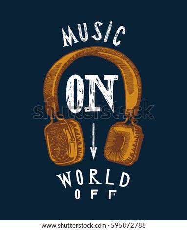 headphones print   music on