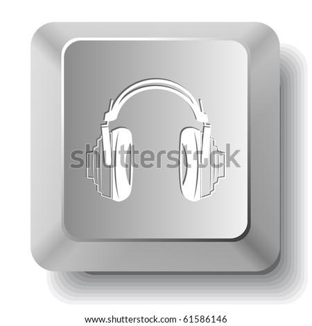 Headphones. Vector computer key.