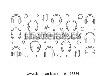 Headphones vector horizontal illustration or banner made with head-phones icons in thin line style