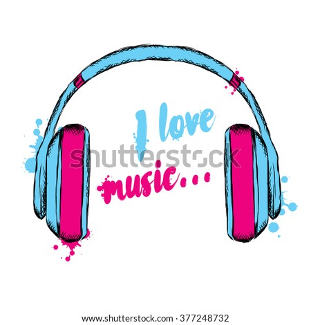 headphones vector i love music