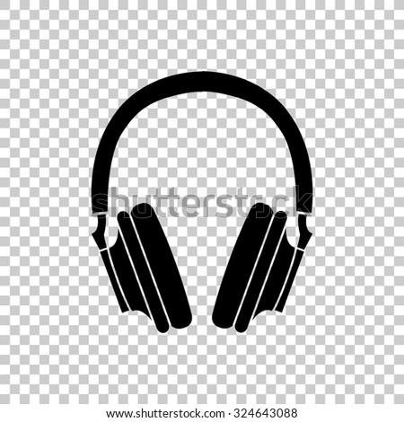 headphones vector icon   black