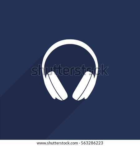 Headphones vector icon with long shadow isolated on  blue