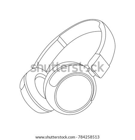 Headphones vector Illustration, Earphones, Line vector, DJ device, DJ headphones, Musical Instrument