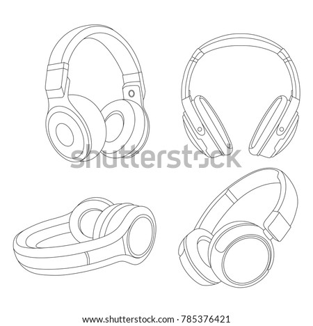 Headphones Vector Illustration, Music Concept, Line art vector, Music device, Headphones vector Illustration, Earphones, DJ device, DJ headphones, Musical Instrument