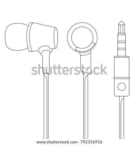 Headphones Vector Illustration, Music Concept, Line art vector, Music device, Headphones vector Illustration, Earphones, DJ device, DJ headphones, Musical Instrument