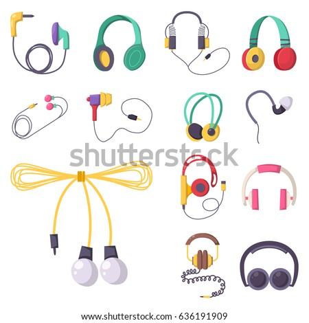 headphones vector set music