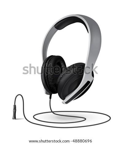 headphones whith a cord - stock vector