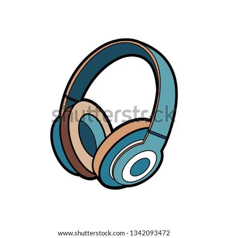 headphones wireless blue vector