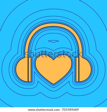 headphones with heart vector