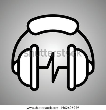 Headphones with micro logo. Headphones with micro. Headphones with micro icon. Flat icon vector headphones with micro in eps 10.