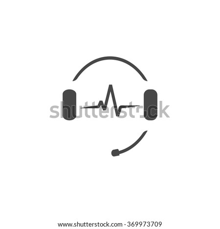 Headphones with microphone and sound waves beats, concept of radio station logo, dj disco symbol, broadcasting studio label, customer support emblem flat back icon, modern design vector illustration