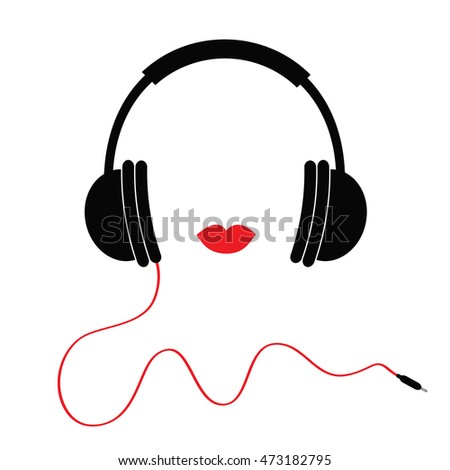 headphones with red cord and