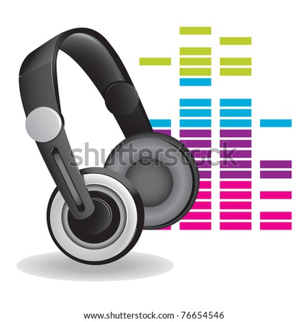 Headphones with reflection and color abstract background