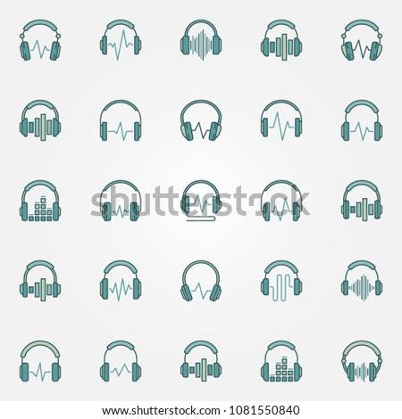headphones with sound wave