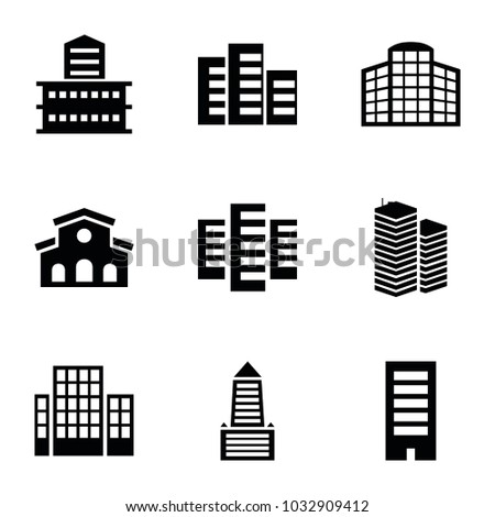 Headquarters icons. set of 9 editable filled headquarters icons such as building, business centre, building   isolated  sign symbol
