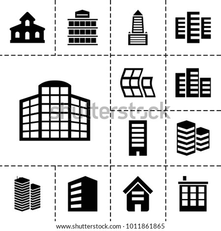Headquarters icons. set of 13 editable filled headquarters icons such as building, modern curved building, business centre, building   isolated  sign symbol